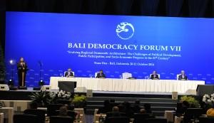 Presiden SBY saat membuka BDF VII, di BICC, Bali, Jumat (7/10)