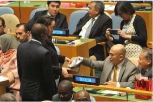 Dubes Desra Percaya saat sidang pemilihan anggota Dewan HAM PBB, Selasa (21/10)
