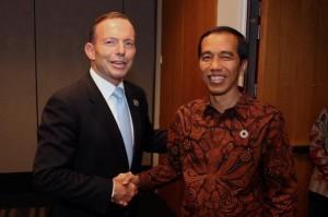 Presiden Jokowi bertemu PM Australia Tony Abbot, di Brisbane, Jumat (14/11) sore waktu setempat.