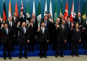 Presiden Jokowi bersama pemimpin dunia saat pembukaan KTT G-20, di Brisbane, Australia, Sabtu (15/11)