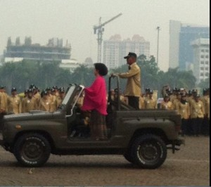 Menkes Nila Moeloek saat Upacara Hari Kesehatan Nasional ke-50, di Monas, Jakarta, Rabu (12/11)