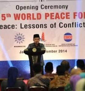 Wapres Jusuf Kalla saat memberikan sambutan pada Milad Muhammadiyah, di Jakarta, Kamis (20/11) malam