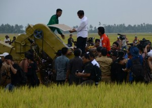 Presiden Jokowi mecoba Candue, alat panen produksi lokal, saat panen raya di Pinrang, Rabu (5/11)