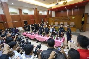 Suasana konperensi pers akhir tahun Dirjen Bea dan Cukai, di Jakarta, Selasa (23/12)