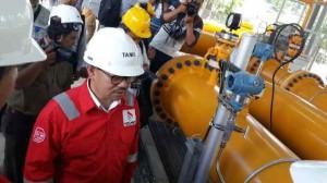 Menteri ESDM Sudirman Said meresmikan mulai beroperasinya jaringan pipa gas Arun - Belawan, Kamis (11/12)