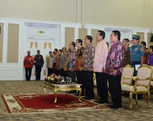Presiden Jokowi saat menghadiri Peringatan Hari HAM se Dunia, di Yogyakarta, Selasa (9/12)