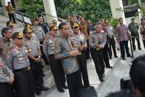Presiden Jokowi seusai bertemu para pejabat Polri di AKPOL Semarang, Selasa (2/12)