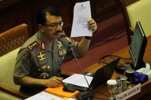 Komjen (Pol) Budi Gunawan saat mengikuti fit and proper test sebagai calon Kapolri, di Komisi III DPR, Rabu (14/1)