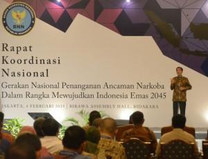 Presiden Jokowi memberikan sambutan Pada Rakornas Darurat Narkoba, di Hotel Bidakara, Jakarta, Rabu (4/2)