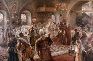 Foto. 1. Perkawinan Adat Rusia, Konstantin Egorovick Makowsky (1881) (Sumber: Bagian Pengelolaan Seni Budaya dan Tata Graha, Sekretariat Presiden)