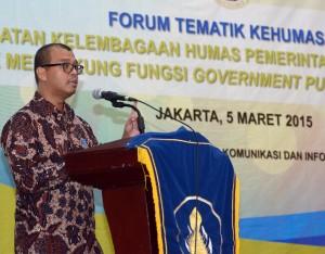 Seskab Andi Widjajanto dalam acara Forum Tematik Bakohumas di Gedung III Setneg, Jakarta, Kamis (5/3)