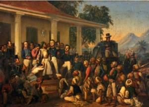 Foto. 1. Penangkapan Diponegoro (Die Gefangenhame Diepo Negoro), Raden Saleh (1857), 112 x 179 cm (Sumber: Bagian Pengelolaan Seni Budaya dan Tata Graha, Sekretariat Presiden)
