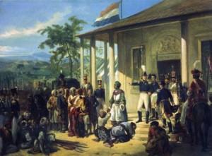 Foto. 2. Penaklukan Diponegoro (De Onderwerping van Diepo Negoro), N. Pieneman (1835), 77 x 100 cm. (Sumber: http://id.wikipedia.org/wiki/Diponegoro)