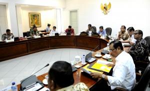Presiden Jokowi didampingi Wapres Jusuf Kalla memimpin rapat terbatas soal organisasi dan modernisasi TNI, di kantor Presiden, Jakarta, Selasa (17/3)
