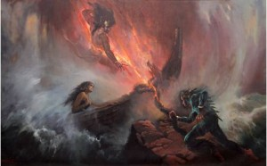 Foto.2: Pertempuran Gatutkaca Lawan Antasena Memperebutkan Sembadra,  Basuki Abdullah (1933),  200 x 300 cm (Sumber: Bagian Pengelolaan  Seni Budaya dan Tata Graha, Sekretariat Presiden)