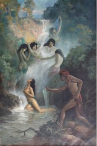 Foto.2: Joko Tarub, Basoeki Abdullah (1959),  255 x 170 cm  (Sumber: Bagian Pengelolaan  Seni Budaya dan Tata Graha, Sekretariat Presiden)