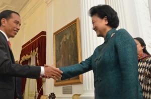 Presiden Jokowi menyambut kedatangan Wakil PM RRT Liu Yandong, di Istana Merdeka, Jakarta, Rabu (27/5) sore