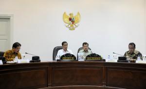 Presiden Jokowi didampingi Wapres Jusuf Kalla memimpin rapat terbatas tentang UMKM, di kantor Presiden, Jakarta, Rabu (17/6) sore
