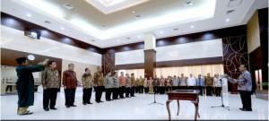 Mensesneg Pratikno melantik 9 pejabat eselon I di lingkungan Kemensetneg, di Jakarta, Senin (8/6) siang