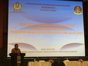 Menteri Keuangan Bambang Brodjonegoro saat berbicara pada forum Bakohumas, di kantor Kemenkeu, Jakarta, Kamis (30/7)