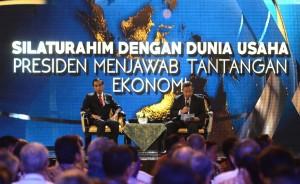 Presiden Jokowi saat berdialog dengan dunia usaha, di JCC Jakarta, Kamis (9/7)