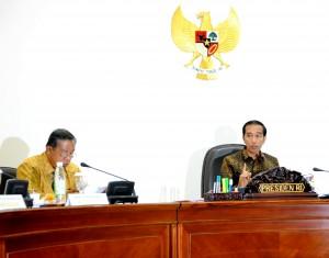 Presiden Jokowi didampingi Menko Perekonomian Darmin Nasution saat memberikan arahan pada rapat terbatas, di kantor Kepresidenan, Jakarta, Selasa (29/9)