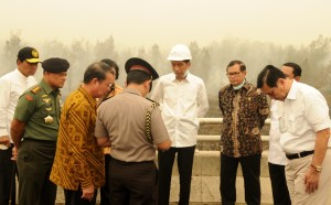Presiden Jokowi membahas bencana asap dengan sejumlah pejabat negara, saat meninjau lokasi kebakaran hutan di Pisang Pulau, Kalteng, Kamis (24/9)