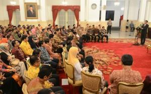 Presiden Jokowi memberikan sambutan pada pembukaan Rapim KPI, di Istana Negara, Jakarta, Rabu (2/9)