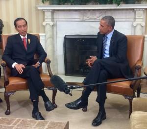 Presiden Jokowi bertemu dengan Presiden AS Barack Obama, di White House, Washington DC, AS, Selasa (27/10) pagi WIB