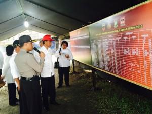 Presiden Jokowi memperhatikan perkembangan penanganan kebakaran hutan, di Posko Kab. Kampar, Riau, Jumat (9/10)