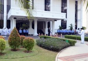 Upacara Peringatan Hari Kesaktian Pancasila, yang digelar di Lapangan Upacara Kemensetneg, Jakarta, Kamis (1/10) pagi