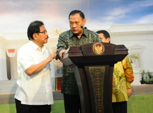 Gubernur BI menyampaikan keterang pers usai ikuti Rapat Terbatas tentang perbankan syariah di Kantor Presiden, Jakarta 5 Januari 2016