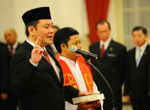 Kepala BRG Nazir Foead Saat Dilantik oleh Presiden Joko Widodo di Istana Negara, Jakarta, beberapa waktu lalu.