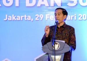 Presiden Jokowi saat memberikan arahan di Kantor Kementerian ESDM Senin (29/2) pagi. (Foto:Humas/Jay)