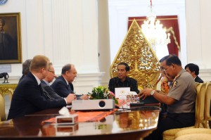 Photo Caption: President Jokowi received Russian Security Council Secretary Nikolai P. Patrushev at the Merdeka Palace, on Wednesday (10/2) morning