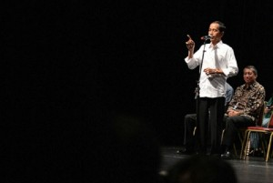 Photo caption: President Jokowi speaking before Indonesian Diaspora in San Francisco, the US (Photo by: BPMI/Laily)