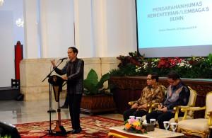 Presiden Jokowi saat memberikan arahan kepada praktisi humas pemerintah di Istana Negara, Jakarta (4/2). (Foto:Humas/Rahmat)