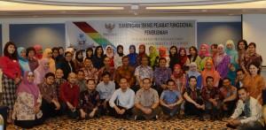 Deputi DKK Seskab Yuli Harsono berpose bersama dengan para peserta Bimtek ) Pejabat Fungsional Penerjemah di Batam, Kepri, Kamis (17/3) pagi. (Foto: Humas/Anggun)
