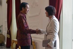 Presiden Jokowi menerima Wapres Swiss Doris Leuthard di Istana Merdeka, Rabu (30/3) siang (Foto: Humas/Deni)