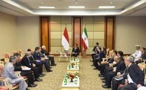 Suasana pertemuan Presiden Jokowi dan Menlu Iran (7/3) di JHCC. (Foto: Humas/ Jay)