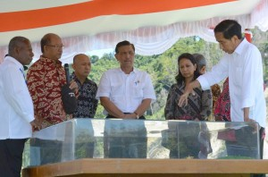 Presiden Jokowi meninjau Pelabuhan Depapre, Sentani, Papua, Sabtu (30/4). (Foto: BPMI)