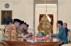 Presiden Jokowi saat menerima PP Muhammadiyah di Istana Merdeka, Jakarta Jumat (1/4) sore. (Foto:Humas/Jay)