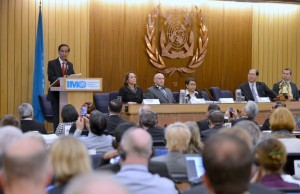 President Joko 'Jokowi' Widodo delivers his remarks at the building of the International Maritime Organization (IMO) in London, the United Kingdom (19/4). (Photo bv: Bureau of Press and Media/Laily)