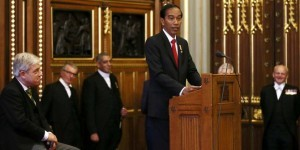 President Jokowi delivers a speech before the Parliament of the United Kingdom, at Westminster, London, Tuesday (19/4 afternoon), local time