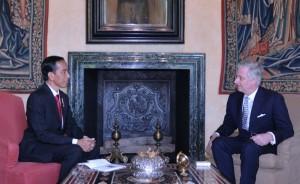 Presiden Jokowi bertemu Raja Belgia Philippe, di Brussel (21/4). (Foto: BPMI/Laily)
