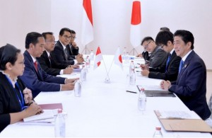 Presiden Jokowi memimpin delegasi Indonesia melakukan pertemuan bilateral dengan delegasi Jepang yang dipimpin PM Shinzo Abe, di Ise Shima, Jepang, Jumat (27/5)