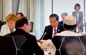 Presiden Jokowi tampil sebagai pembicara utama pada sesi I KTT G-7 Outreach, di Kanko Hotel the Classic, Ise Shima, Jepang, Jumat (27/5) pagi waktu setempat
