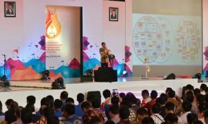 Presiden Jokowi memberikan sambutan pada Jambore Hipmi, di Bandung, Jabar, Senin (23/5) siang. (Foto: Agung/Humas)