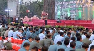 Presiden Joko Widodo saat memberikan sambutan di hadapan ribuan prajurit TNI, Senin (27/6), di Mabes TNI, Cilangkap. (Foto: BPMI/Kris)