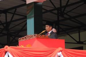 Presiden Jokowi saat memberikan arahan dalam acara pelantikan Praja TNI dan Polri di Magelang, Jawa Tengah (26/7). (Foto: Humas/Fitri)